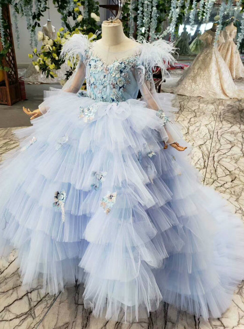 Blue Ball Gown Tulle Embrodiery Appliques Long Sleeve Flower Girl Dress With Feather
