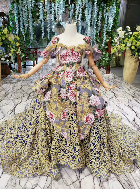 Blue Ball Gown Gold Lace Embroidery Flower Princess Flower Girl Dress