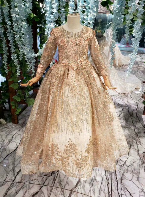 Luxury Gold Ball Gown Sequins Appliques Long Sleeve Flower Girl Dress