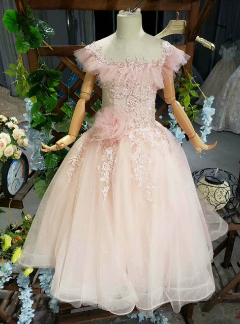 A-Line Pink Tulle Appliues Beading Sequins Backless Flower Girl Dress