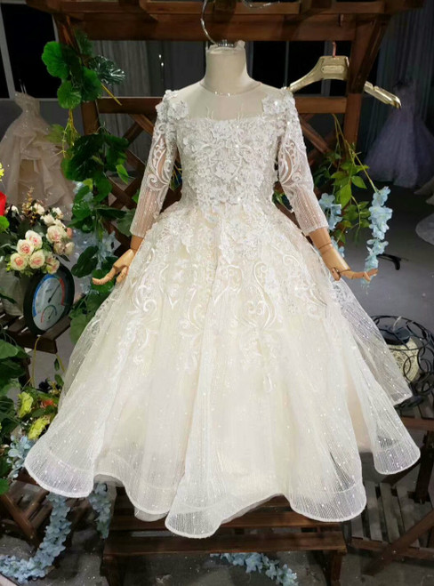 Light Champagne Ball Gown Sequins Appliques Long Sleeve Flower Girl Dress