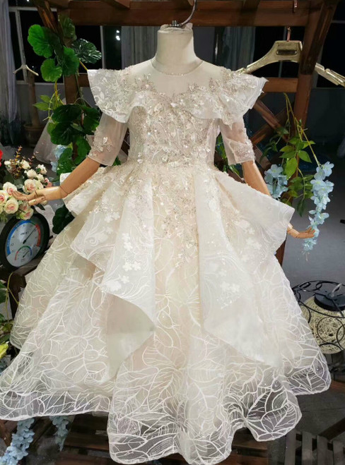 Champagne Ball Gown Tulle Appliques Sequins Short Sleeve Flower Girl Dress