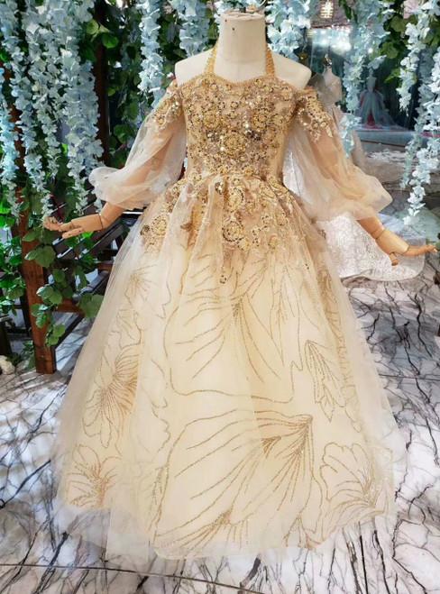 Champagne Tulle Sequins Halter Sequins Flower Girl Dress