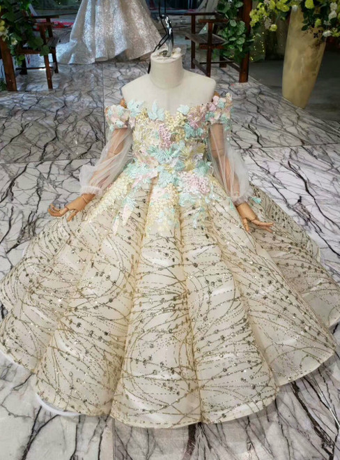 Champagne Ball Gown Sequins Off the Shoulder Long Sleeve Flower Girl Dress