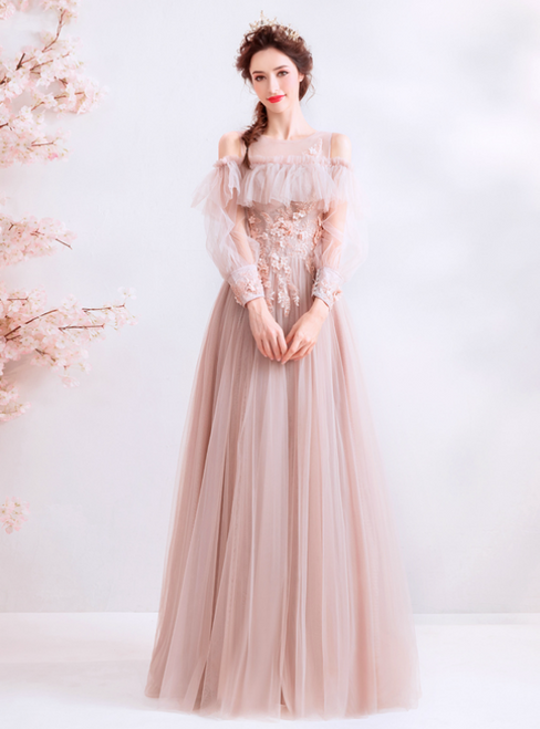 In Stock:Ship in 48 Hours Pink Tulle Appliques Long Sleeve Prom Dress
