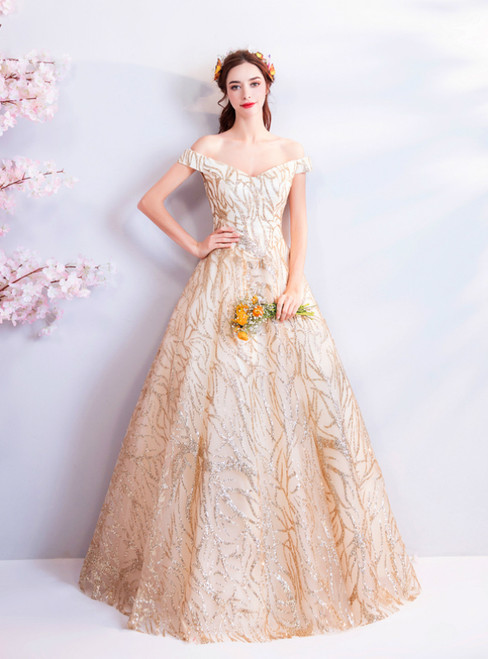 In Stock:Ship in 48 Hours Gold Tulle Sequins Off the Shoulder Prom Dress