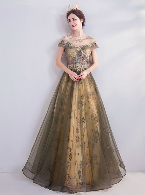 In Stock:Ship in 48 Hours Champagne Tulle Seuqins Prom Dres