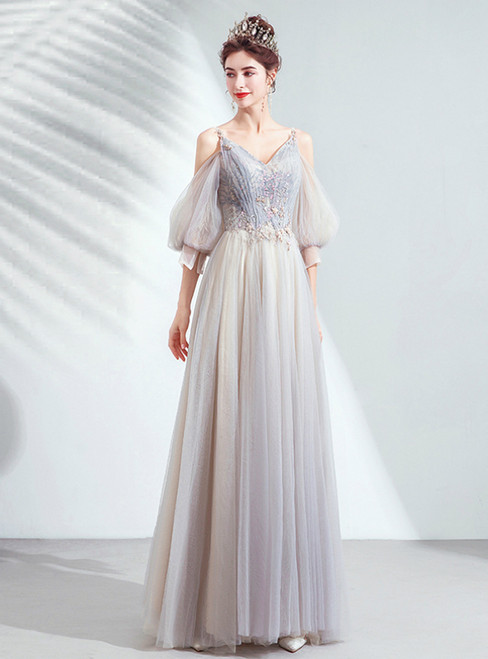 In Stock:Ship in 48 Hours Gray Tulle Puff Sleeve Spaghetti Straps Prom Dress