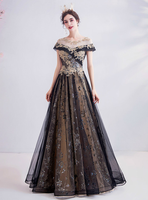 In Stock:Ship in 48 Hours Black Champagne Tulle Sequins Prom Dress