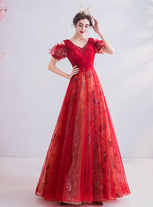In Stock:Ship in 48 Hours Red Tulle Seuqins V-neck Prom Dress