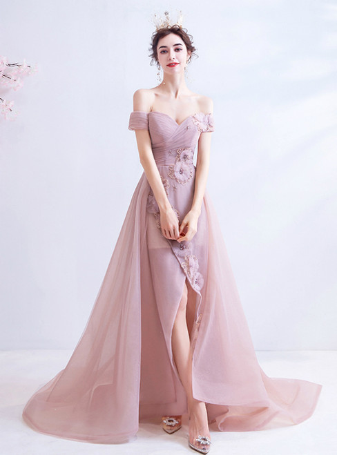 In Stock:Ship in 48 Hours Pink Tulle Off the Shoulder Appliques Beading Prom Dress