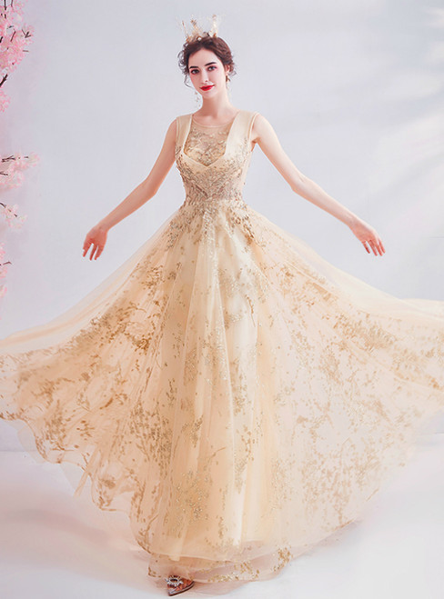 In Stock:Ship in 48 Hours  Gold Tulle Seuqins Backless Prom Dress
