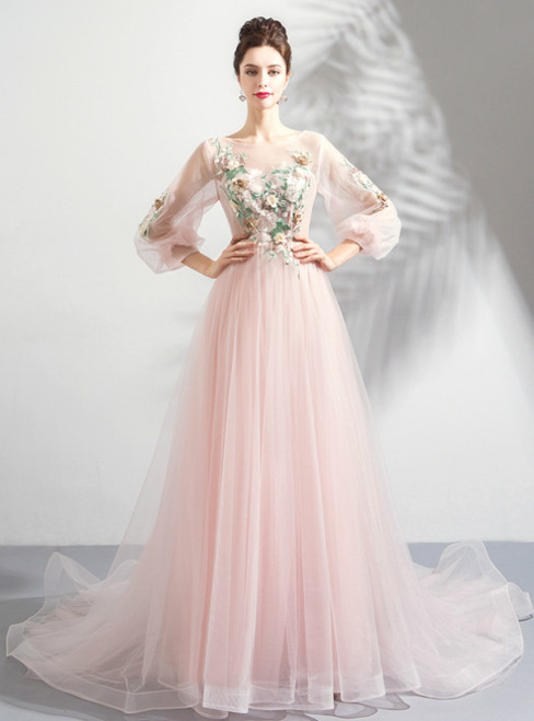 In Stock:Ship in 48 Hours Pink Tulle Long Sleeve Backless Prom Dress