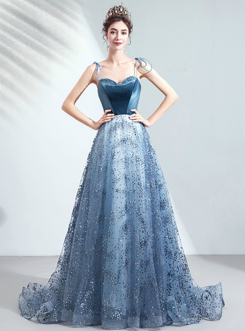 In Stock:Ship in 48 Hours Blue Tulle Sequins Spaghetti Straps Long Prom Dress