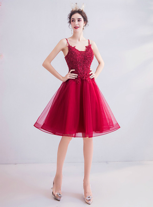 In Stock:Ship in 48 Hours Burgundy Tulle Short Appliques Homecoming Dress