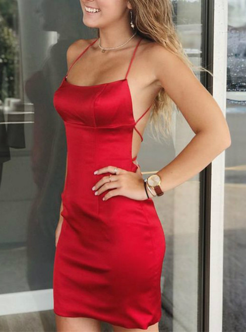 Red Sheath Satin Halter Short Simple Homecoming Dress