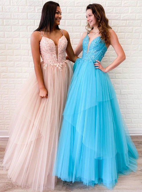 A-Line V-neck tulle Appliques Cross Straps Back Long Prom Dress