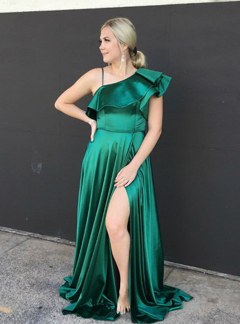 A-Line Green Satin One Shoulder Long Prom Dress With Side Split