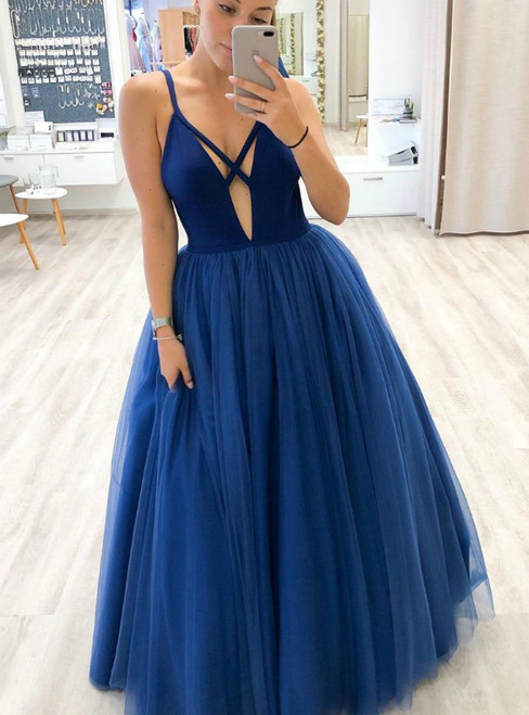 A-Line Blue Deep V-neck Tulle Sleeveless Prom Dress