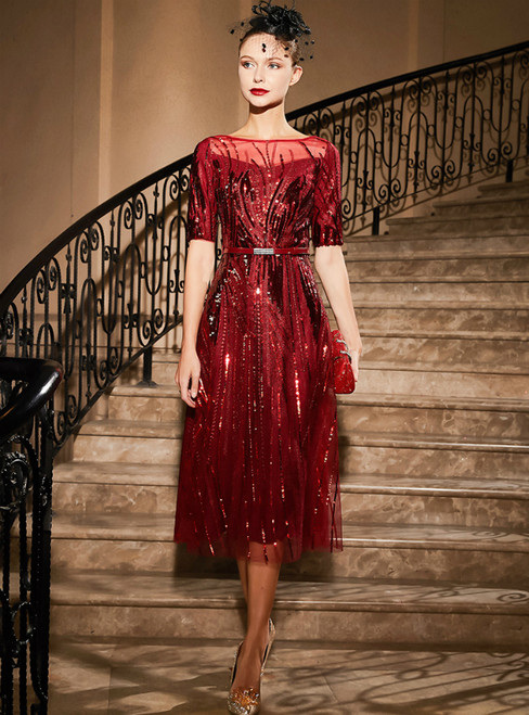 A-Line Burgundy Tulle Sequins Short Sleeve Knee Length Mother Of the Brides Dress