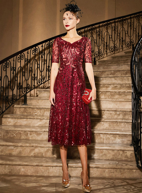 A-Line Burgundy Sequins V-neck Short Sleeve Mother Of the Brides Dress