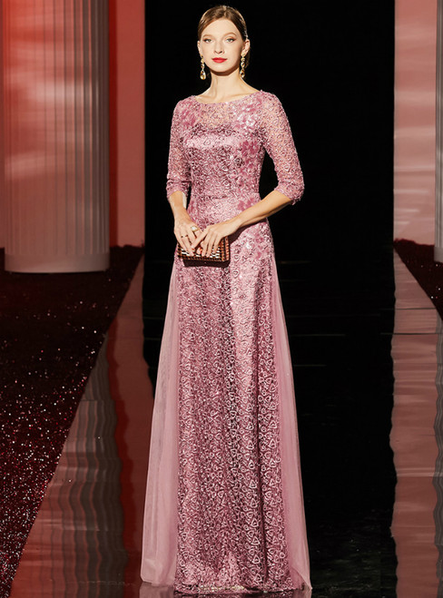 A-Line Pink Lace Half Sleeve Sequins Long Mother Of the Brides Dress