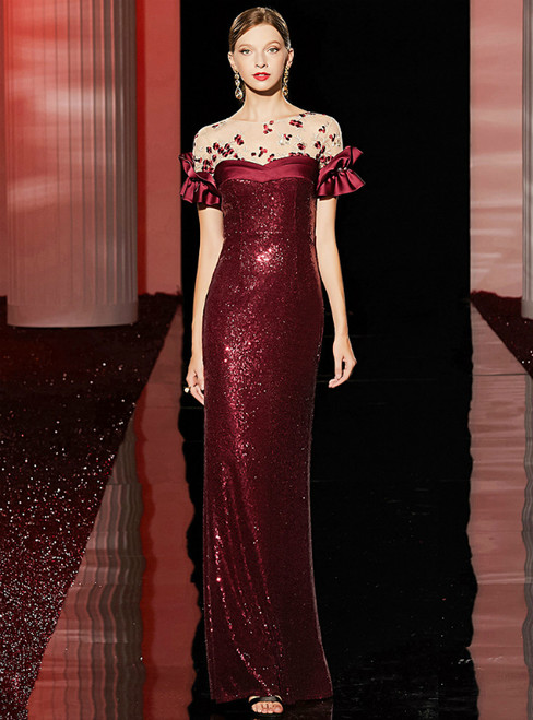 Burgundy Mermaid Sequins Short Sleeve Long Mother Of The Bride Dress