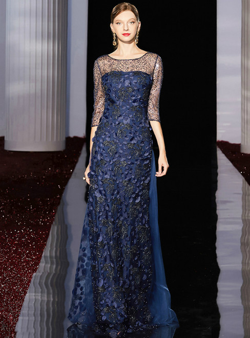 A-Line Dark Blue Sequins Half Sleeve Long Mother of the Bride Dress