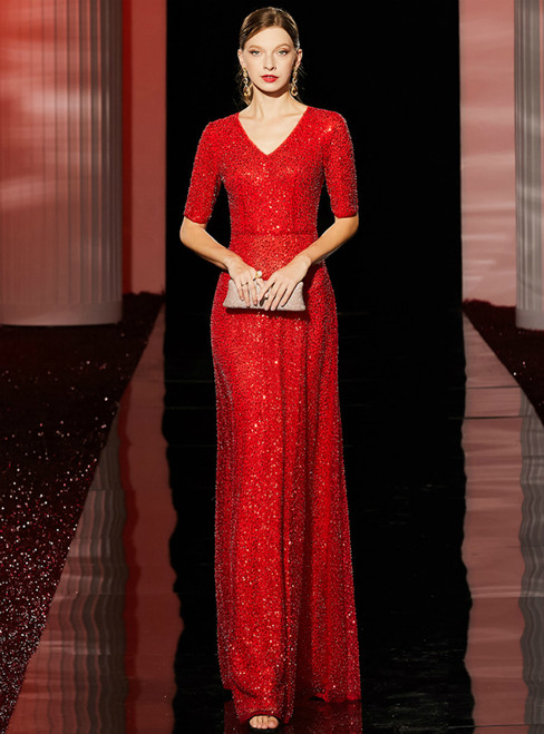 A-Line Sexy Red Sequins V-neck Short Sleeve Mother of the Bride Dress