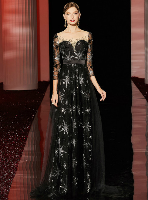 A-Line Black Tulle Sequins 3/4 Sleeve Long Mother of the Bride Dress
