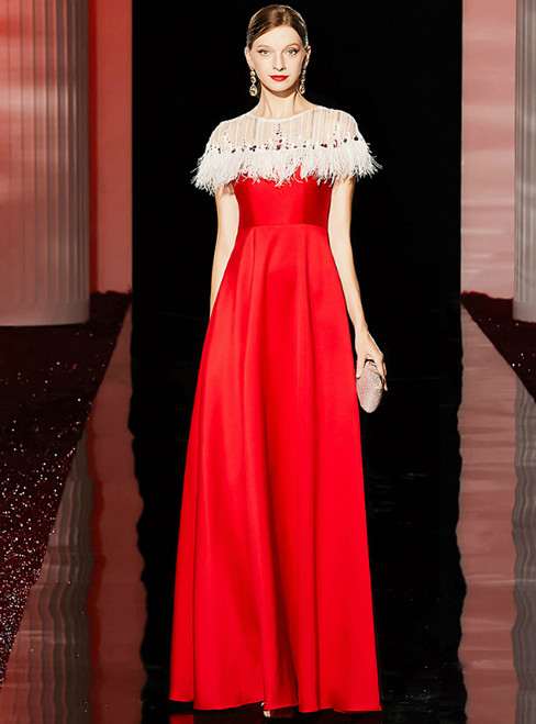 A-Line Red Satin Cap Sleeve Sequins Mother of the Bride Dress With Feather