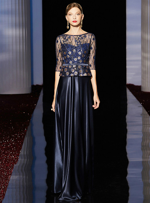 A-Line Navy Blue Satin Half Sleeve Mother of the Bride Dress