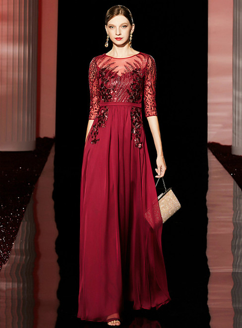 A-Line Burgundy Chiffon Half Sleeve Sequins Long Mother of the Bride Dress