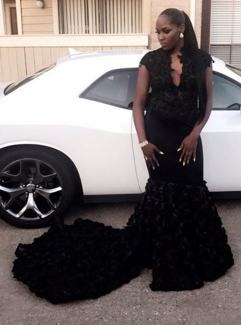 Cheap prom dresses 2017 Black Mermaid Prom Dresses Lace Sleeveless Evening Dress