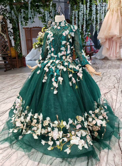 Green Ball Gown Tulle High Neck Long Sleeve Appliques Beading Flower Girl Dress