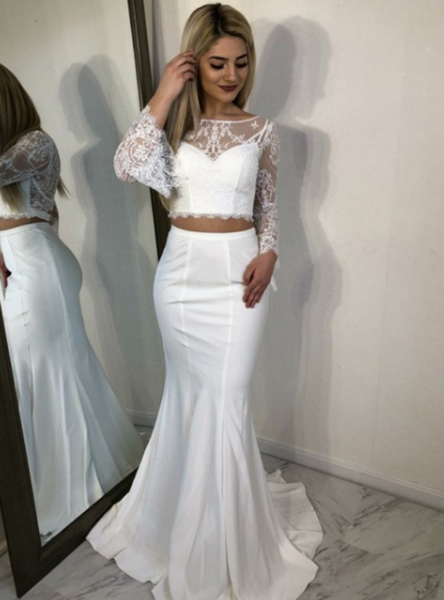 White Mermaid Two Piece Long Sleeve Lace Prom Dress