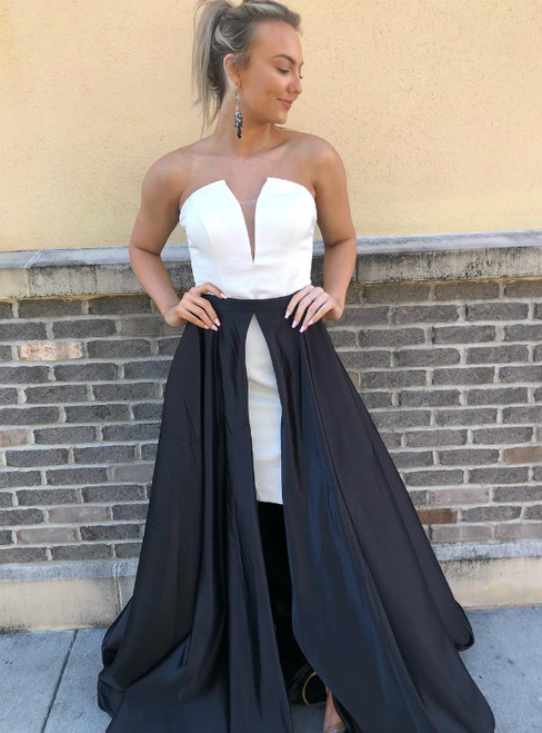 A-Line Black And White Satin Strapless Long Prom Dress With Side Split