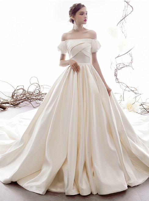 Ivory White Ball Gown Satin Off the Shoulder Short Sleeve Wedding Dress