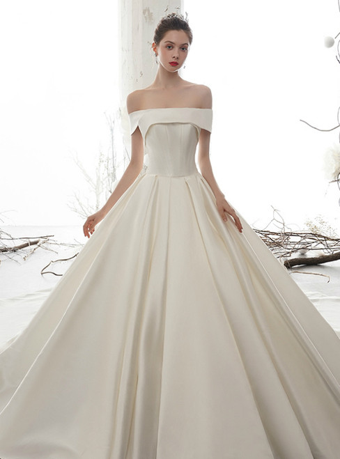 Simple White Ball Gown Satin Off the Shoulder Wedding Dress With Long Train