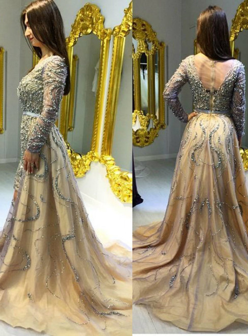 Cheap prom dresses 2017 Beading A-Line Prom Dress Long Prom Dresses Charming Prom Dresses