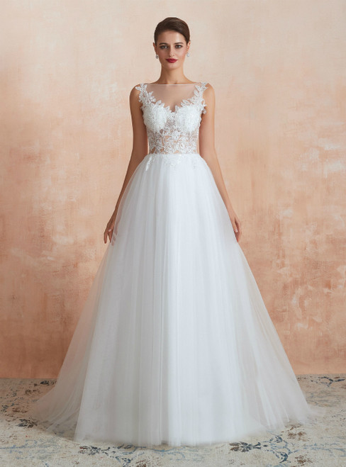 A-Line White Tulle Appliques See Through Floor Length Wedding Dress