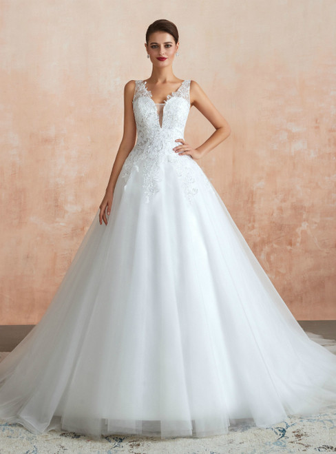 White Ball Gown Tulle Appliques V-neck See Through Wedding Dress