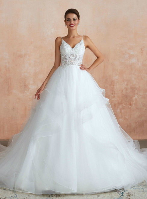 White Ball Gown Tulle Appliques Spaghetti Straps Wedding Dress