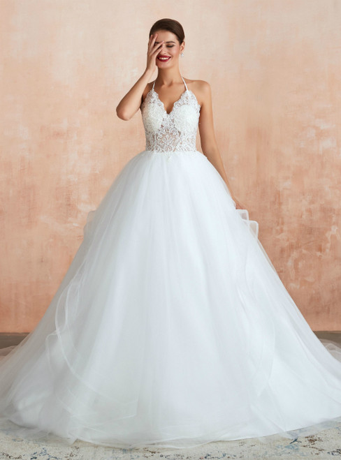 White Tulle Lace Appliques Halter Backless Wedding Dress