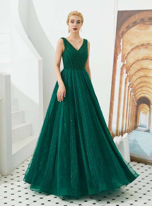 A-Line Green Tulle V-neck Backless Beading Sequins Prom Dress