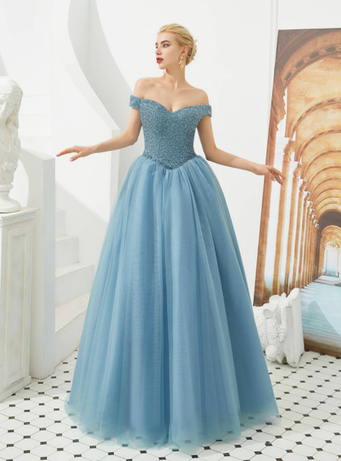 A-Line Blue Off the Shoulder Beading Floor Length Prom Dress