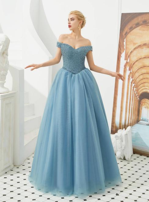 A-Line Blue Off the Shoulder Beading Floor Length Prom Dress