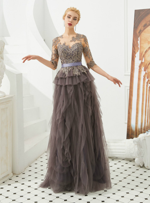 A-Line Gray Tulle Lace Half Sleeve Appliques Prom Dress