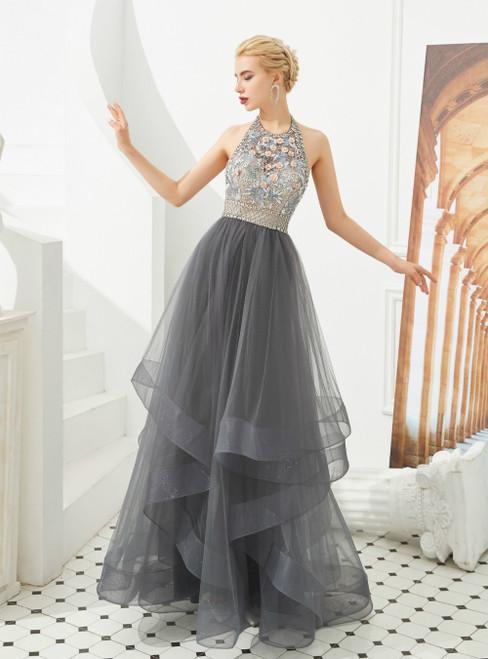 A-Line Gray Tulle Halter Backless Beading Flower Prom Dress