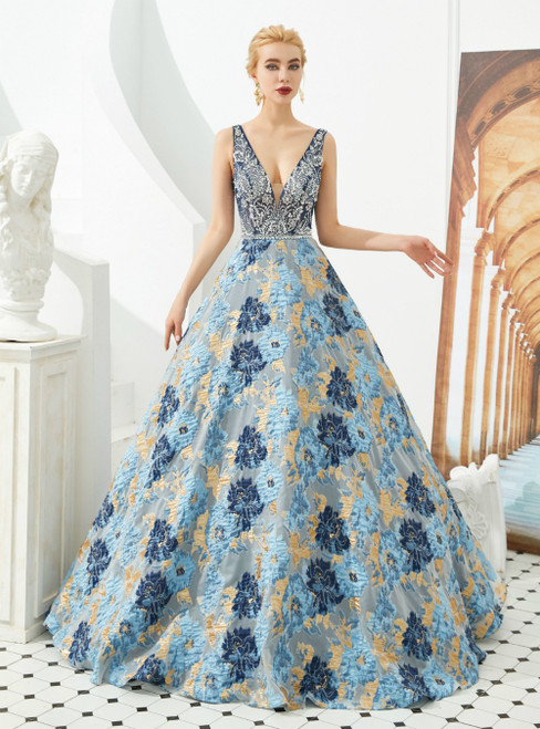 A-Line Blue Print V-neck Backless Long Prom Dress